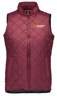 Jak82 Ladies Diamond Pattern Nylon Vest With Slight Hi Low Hem