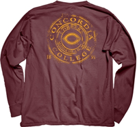 LS162 CONCORDIA DYED RINGSPUN SUPER SOFT L/S SLEEVE TEE WITH LEFT CHEST AND LARGE BACK CIRCLE LOGO