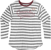 Uf381 Ladies Long Sleeve Relaxed Fit Stripe Tee With Contrast Banded Collar