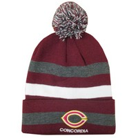 Ww-84 Stripe Hat Logo Hat With Pom