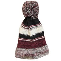 Ww90 Knit Stripe Hat With Pom